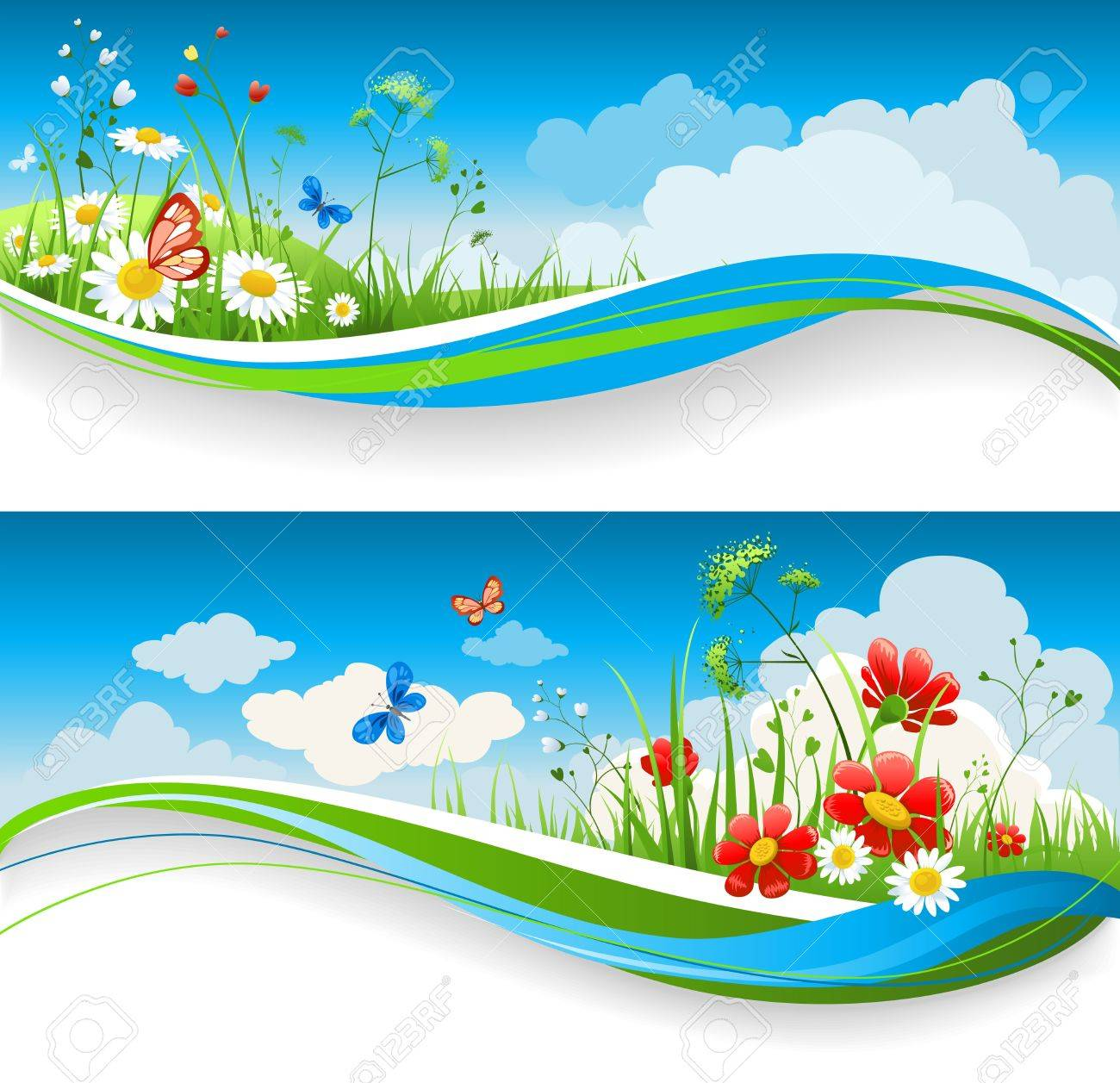 Two summer natural banners with flowes and blue sky - 9334059