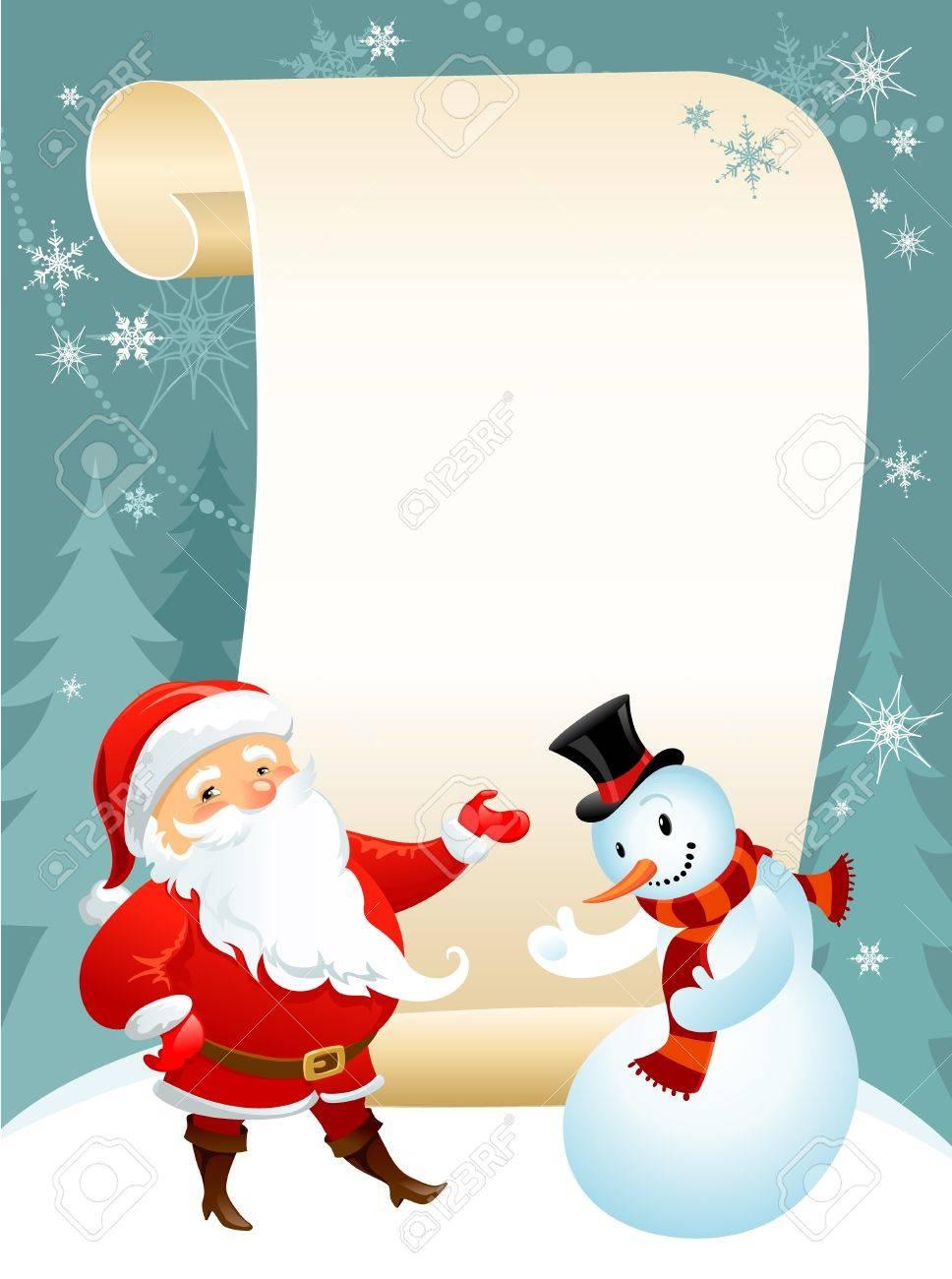 snowman and Santa Stock Vector - 9580911