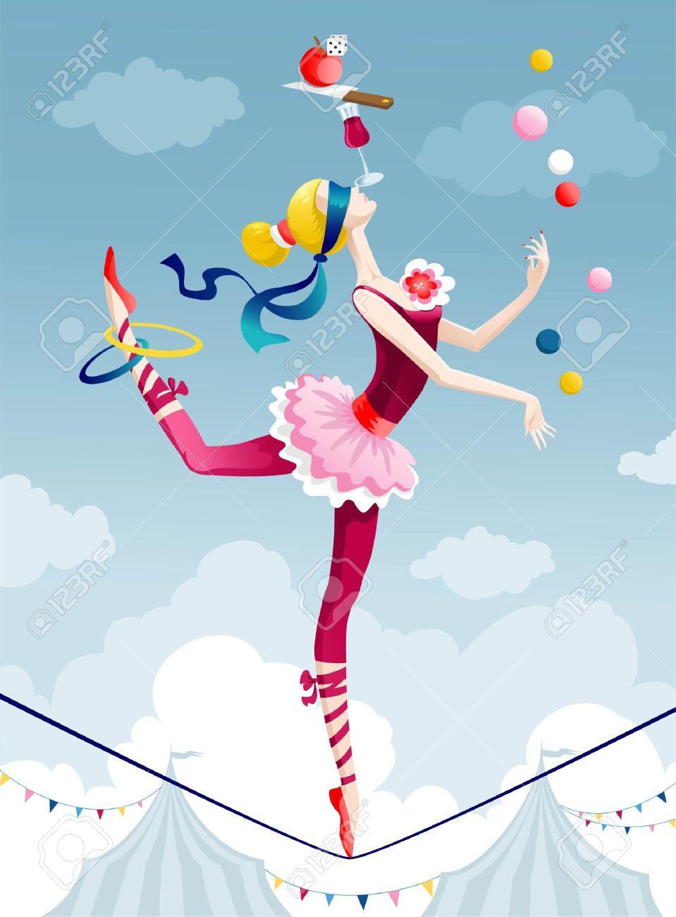 Zirkusartist Jonglieren Mit Bällen Auf Draht Lizenzfrei Nutzbare ...