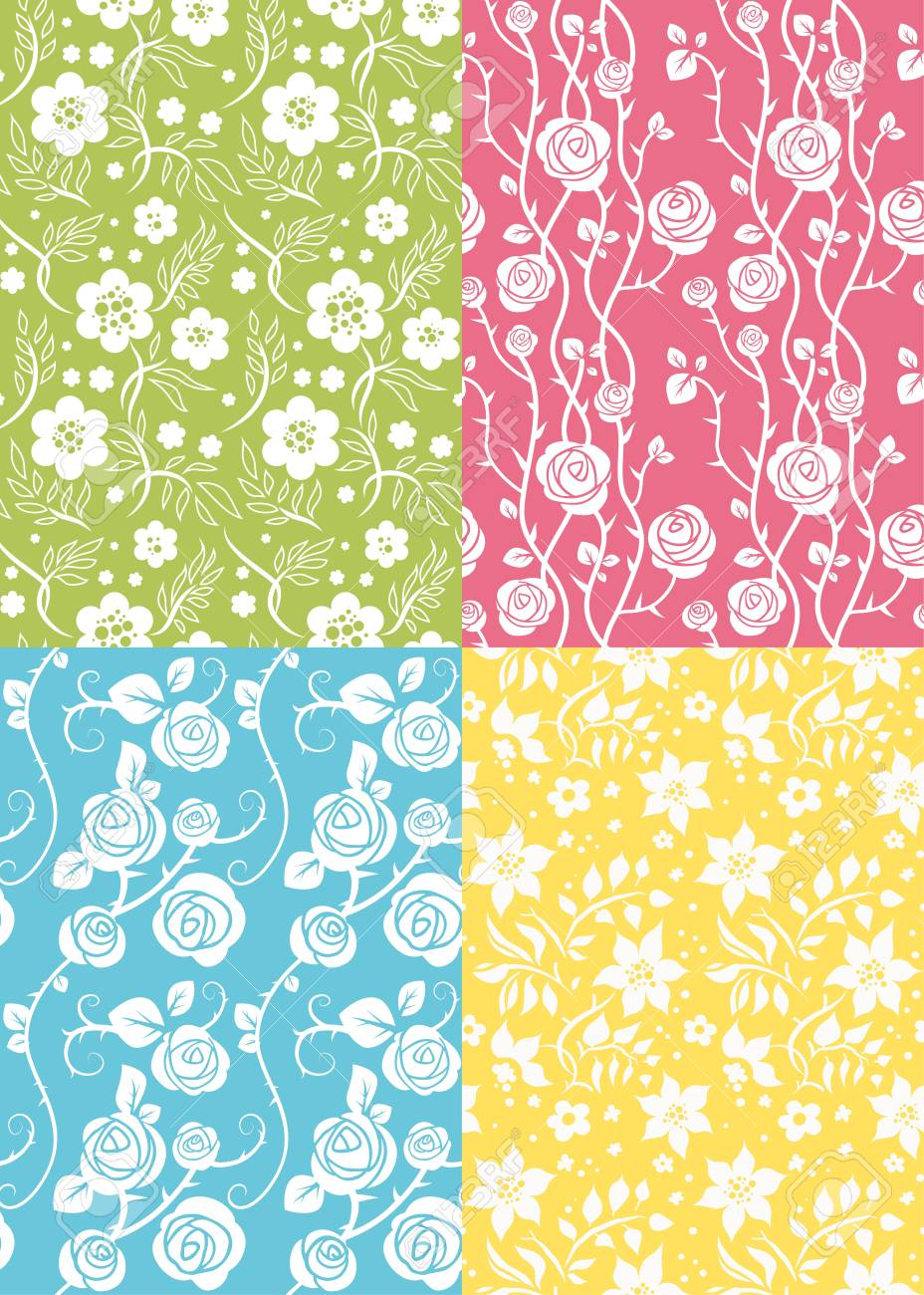 Four floral seamless Stock Vector - 10102005