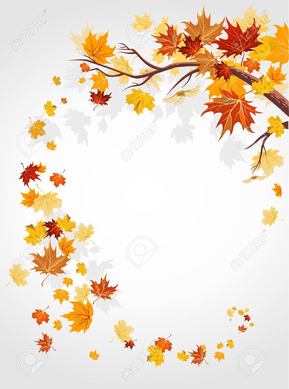 Autumn leaves swirl with space for text Stock Vector - 10585584