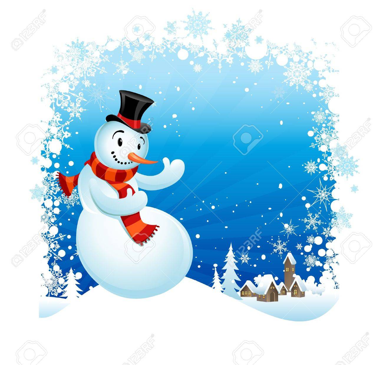 Snowman  with space for text Stock Vector - 10690547