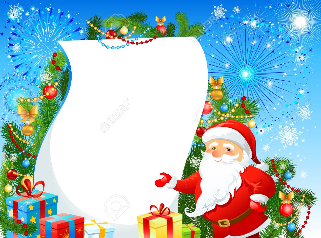 festive christmas background with santa claus and fir tree space royalty free cliparts vectors and stock illustration image 11654899 festive christmas background with santa claus and fir tree space