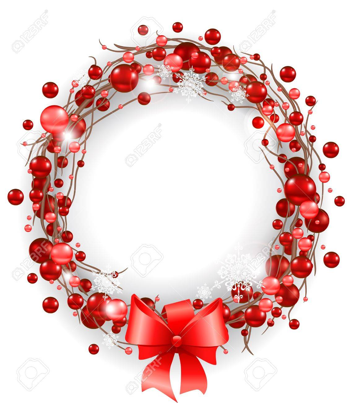 Christmas Wreath With Red Bow Stock Vector   11654937