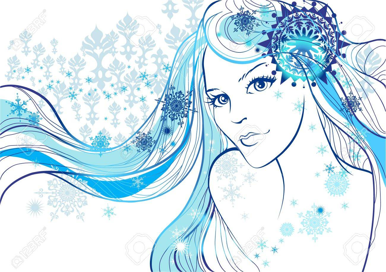 Beautiful  girl and  snowflakes Stock Vector - 11654910
