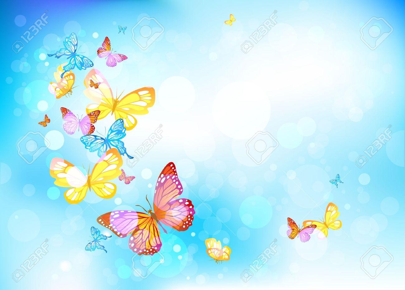 Beautiful butterflies in a blue sky Stock Vector - 17858838