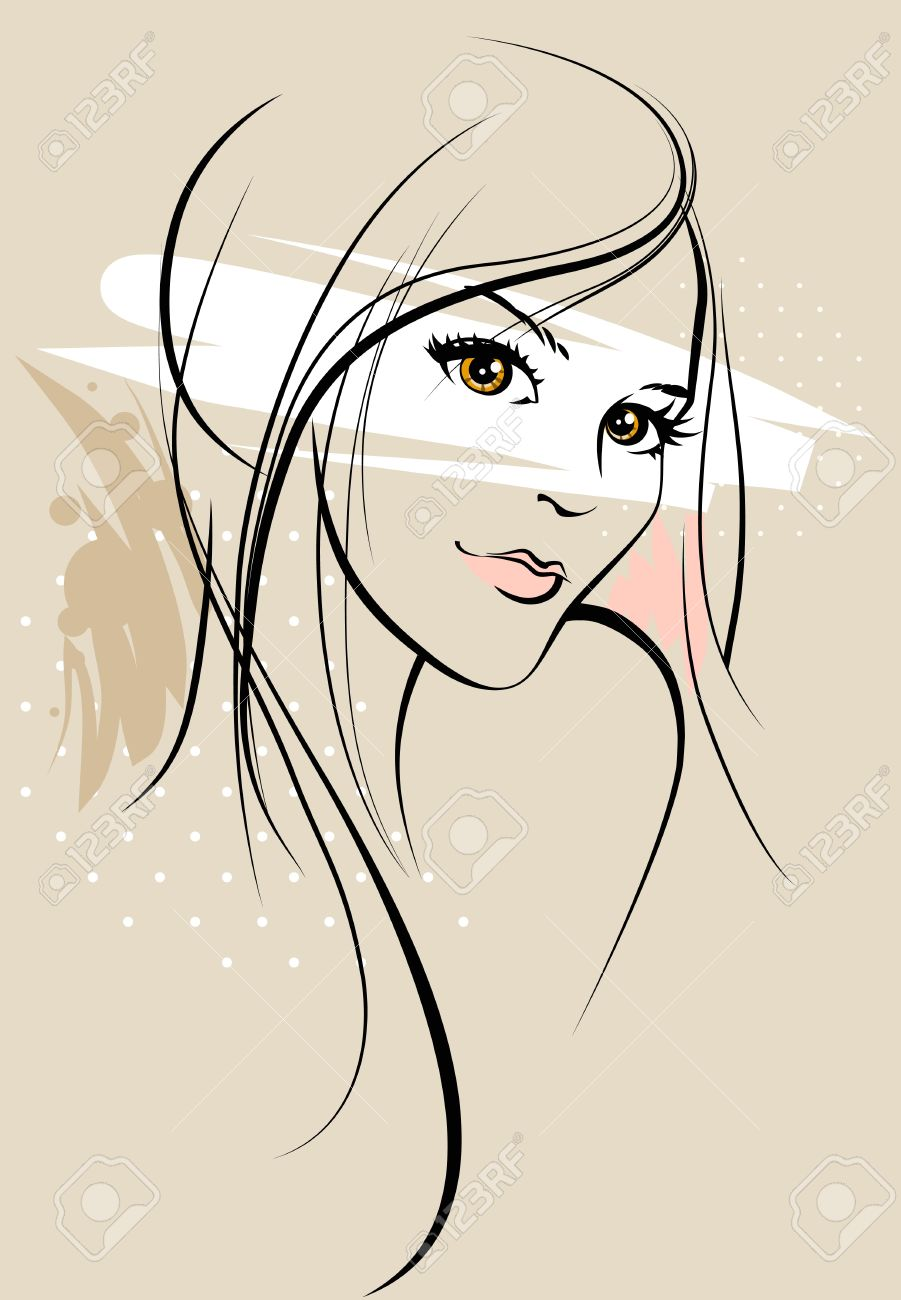 Beautiful girl sketch stock vector 18705004