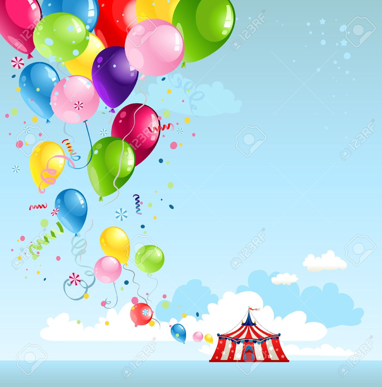 Circus tent and balloons with space for text Stock Vector - 20544519