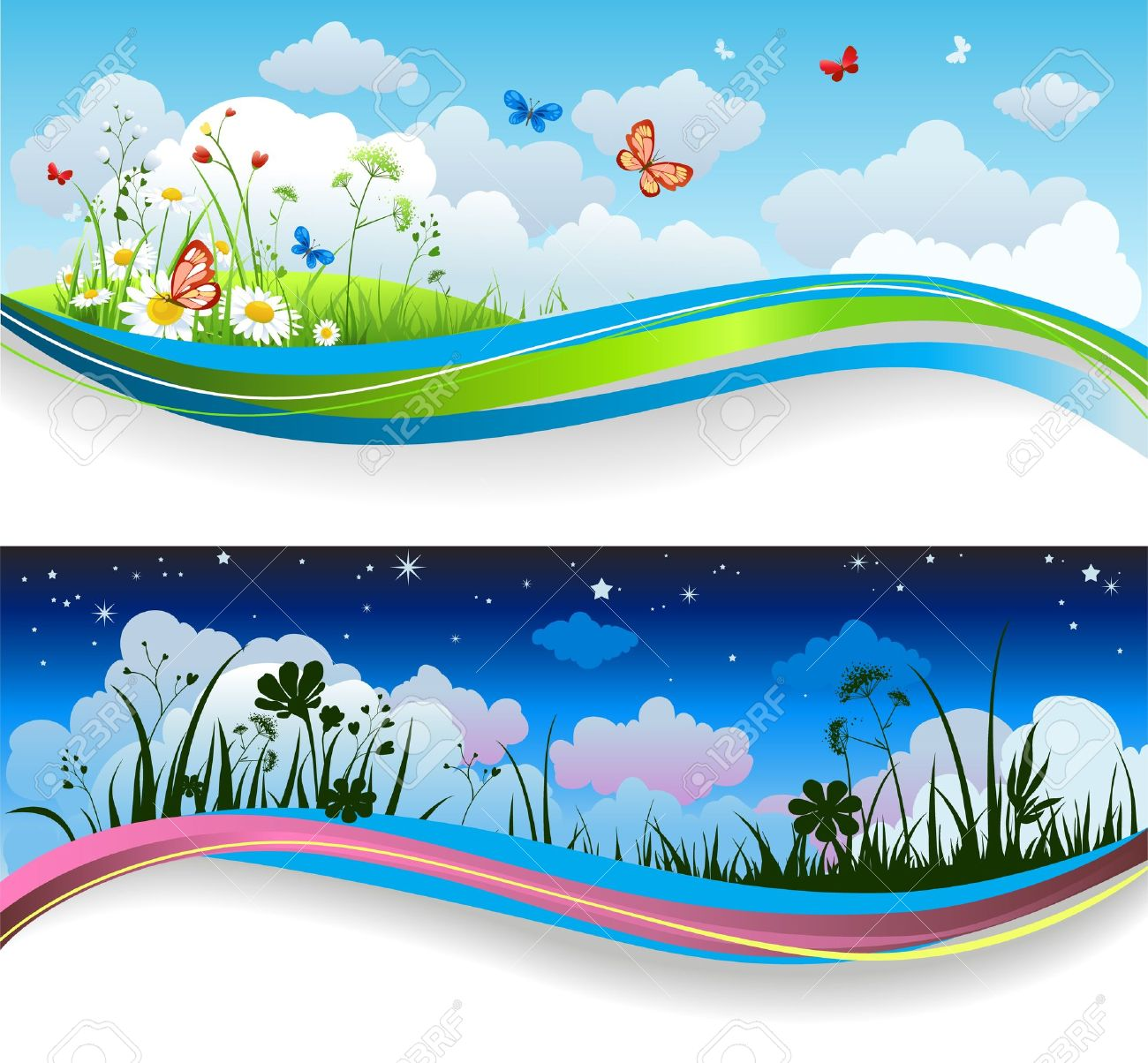 Day and night summer banners Stock Vector - 20544567