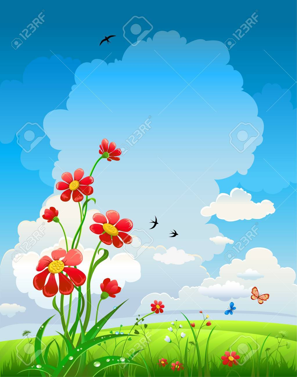 Summer natural background with flowers and blue sky Stock Vector - 20544572