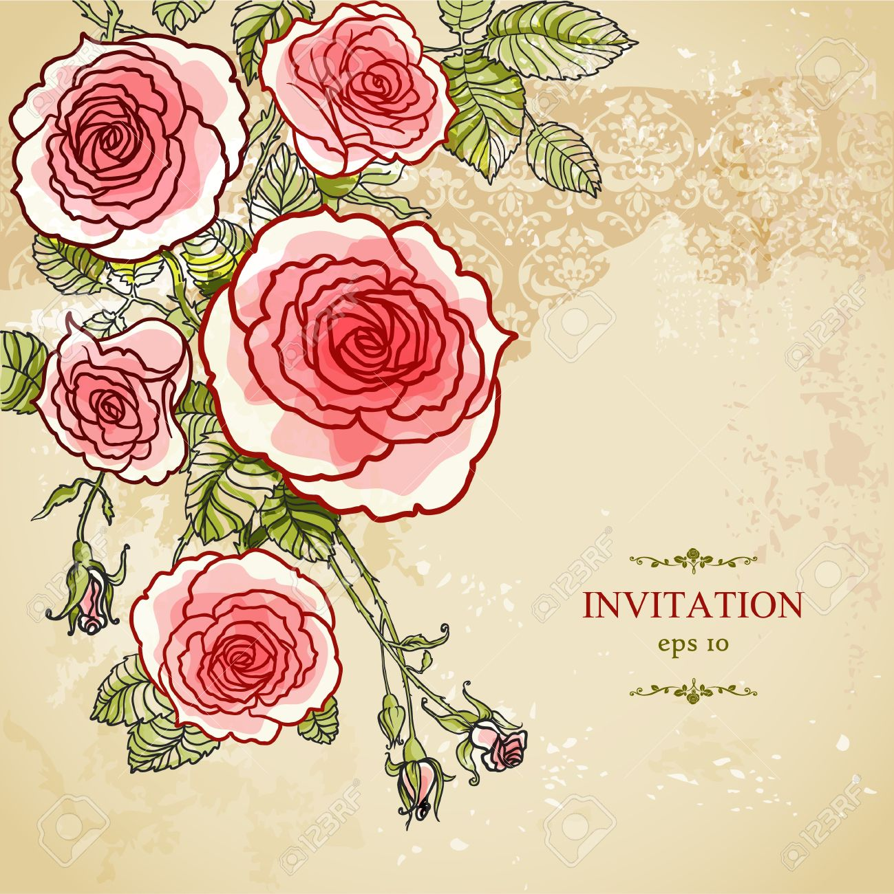 Floral invitation background with copy space Stock Vector - 20544668