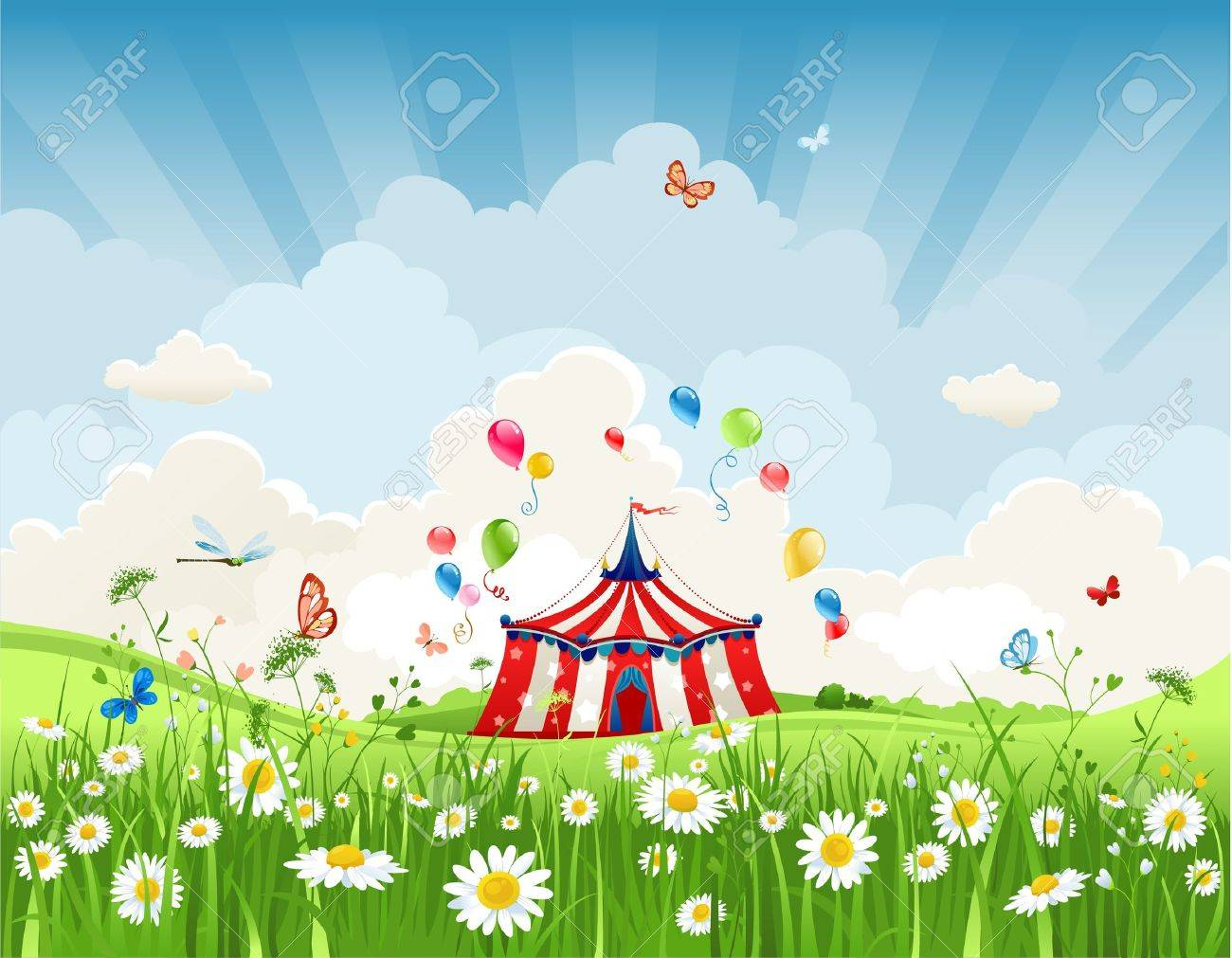 Travelling circus under blue sky Stock Vector - 20544763
