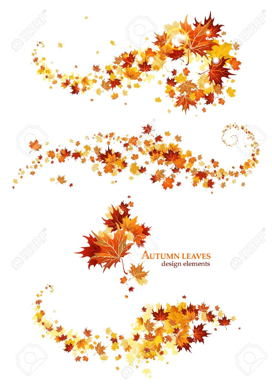 autumn leaves design elements royalty free cliparts vectors and