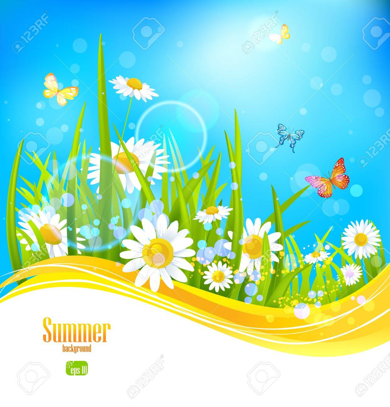 Sunny bright background with blue sky with space for text Stock Vector - 20598665