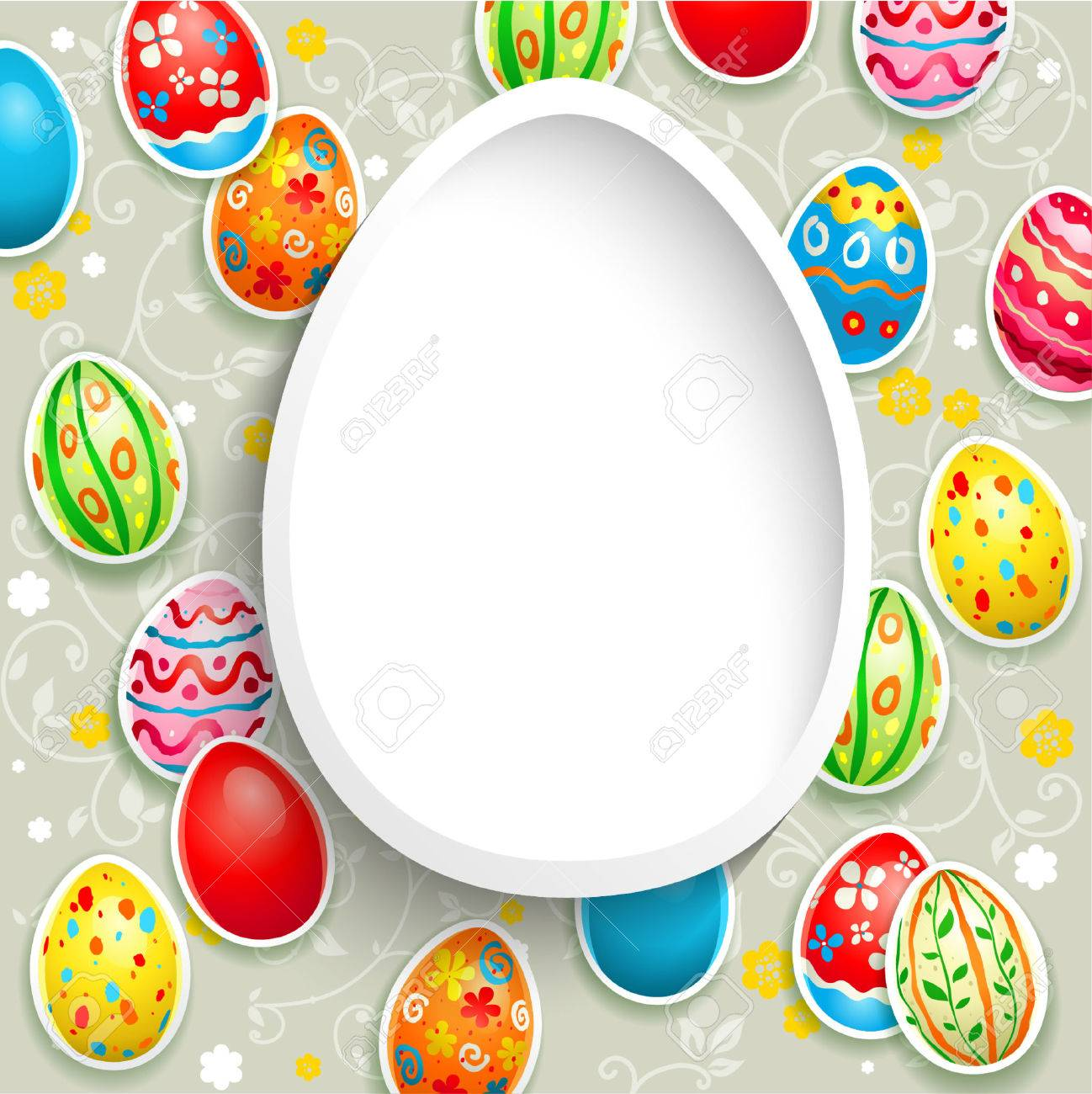 Happy Easter Frame With Eggs. Royalty Free Cliparts, Vectors, And ...