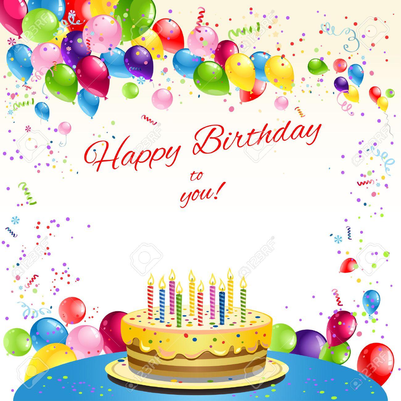 Happy Birthday Karte Mit Kuchen Und Luftballons Platz Fur Text