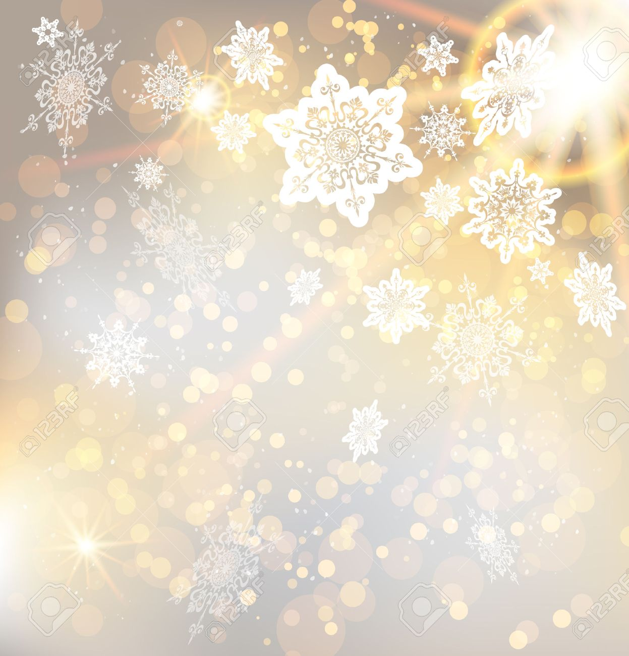 Festive Christmas Background With Snowflakes And Lights Copy