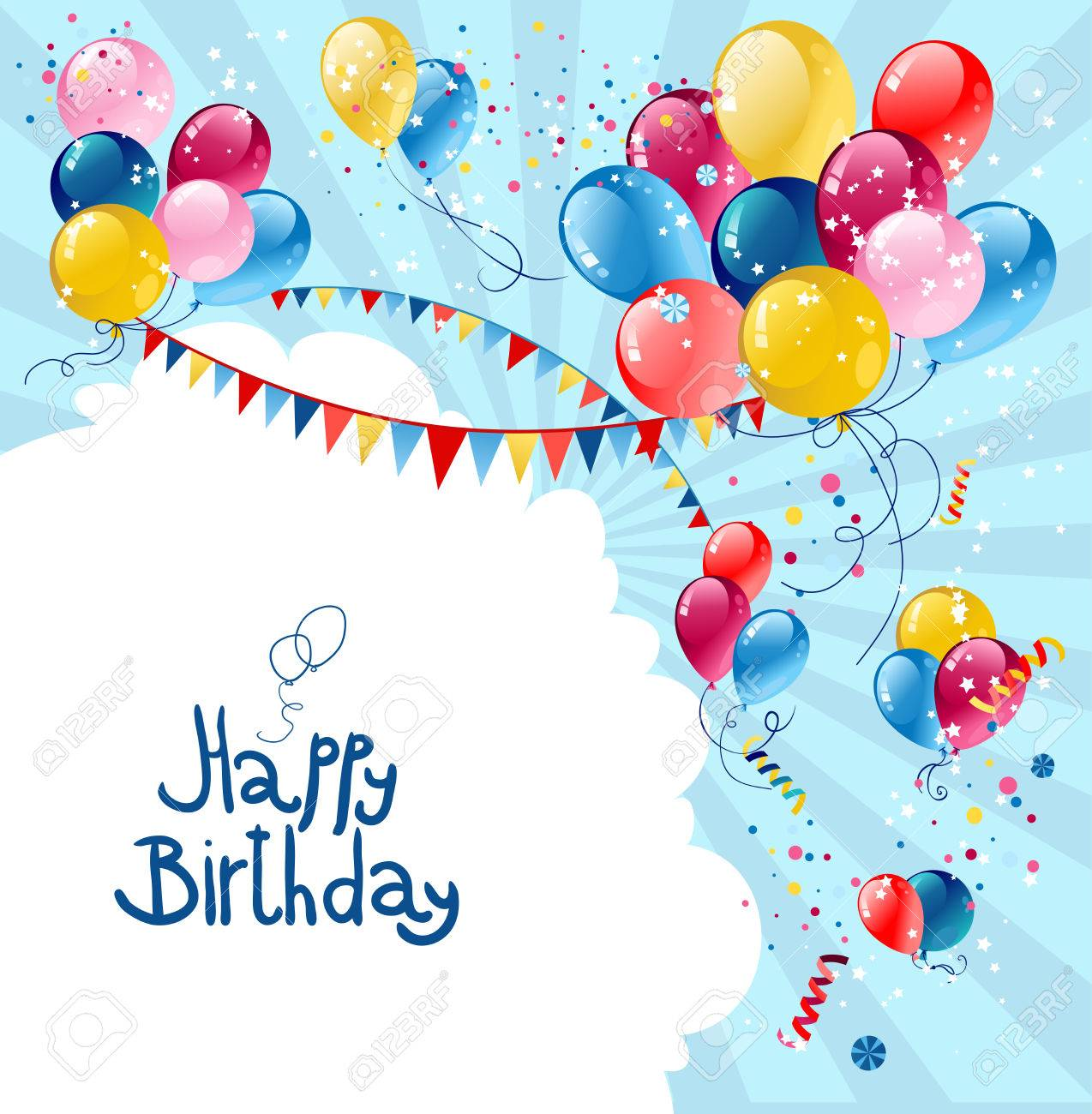 Birthday holiday balloons in blue sky with place for text. - 32146790