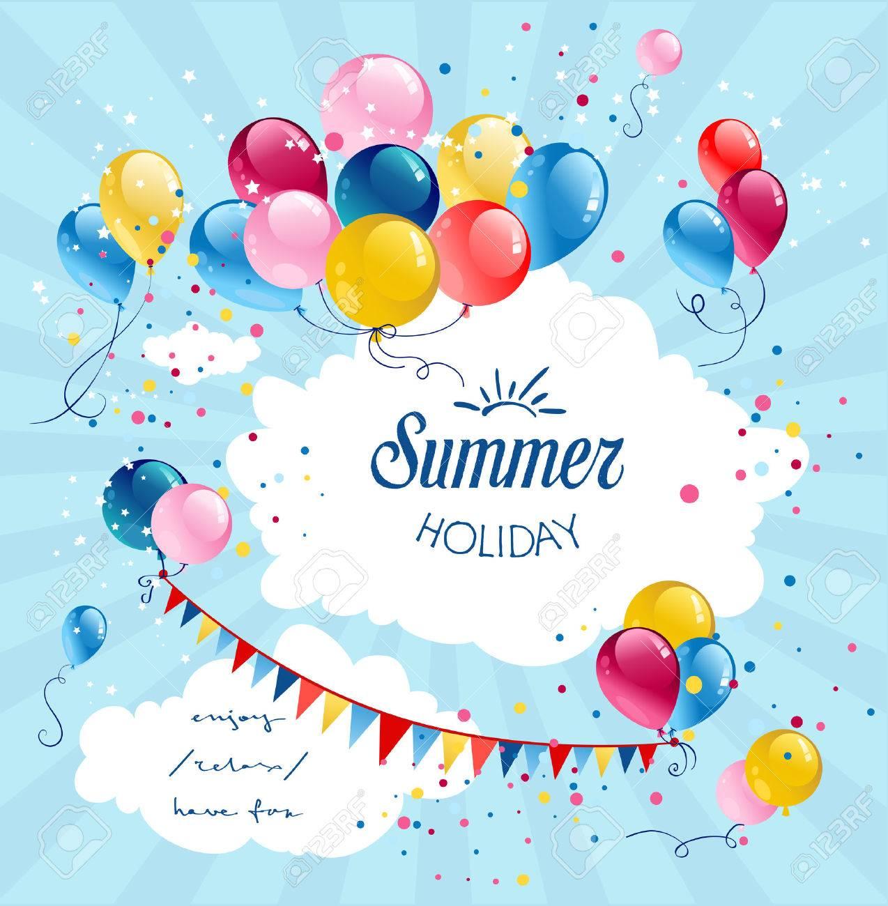 Geburtstag Urlaub Luftballons In Den Blauen Himmel Mit Platz Fur