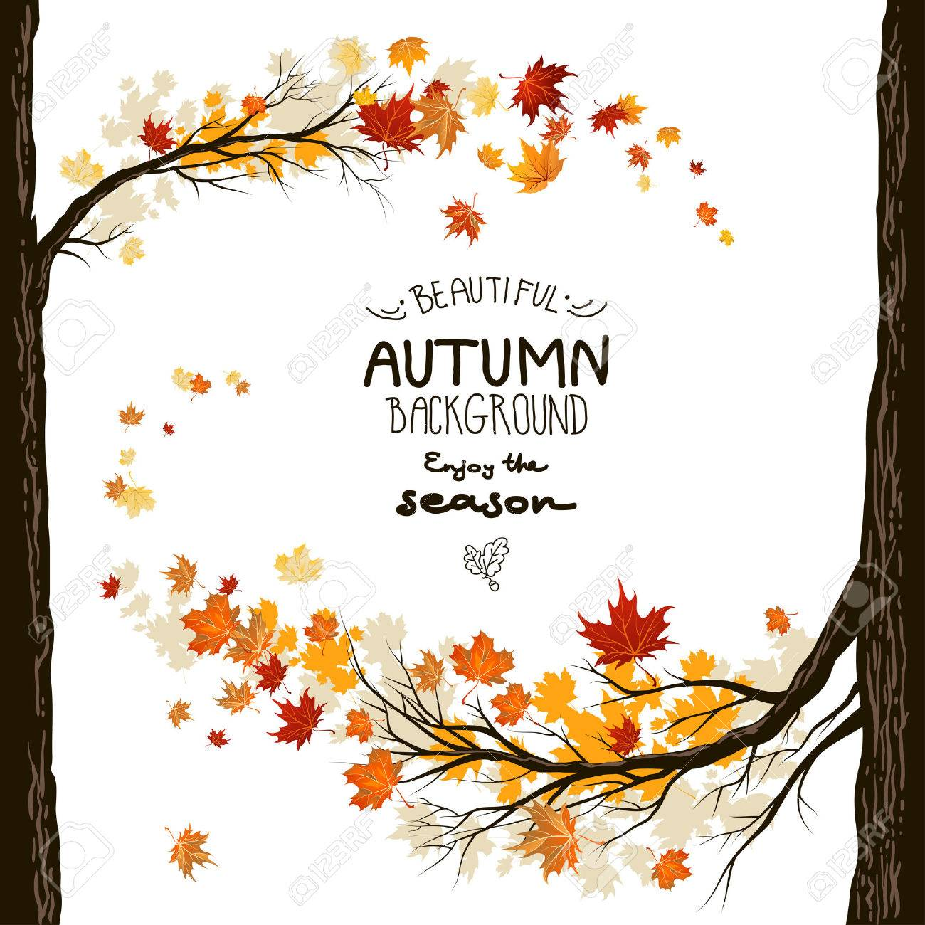 Fall background with leaves. Autumnal frame from trees - 32143233