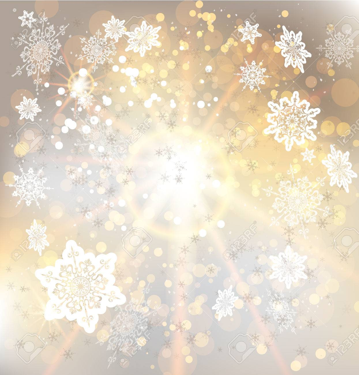 Golden background with snowflakes. Copy space - 32148058