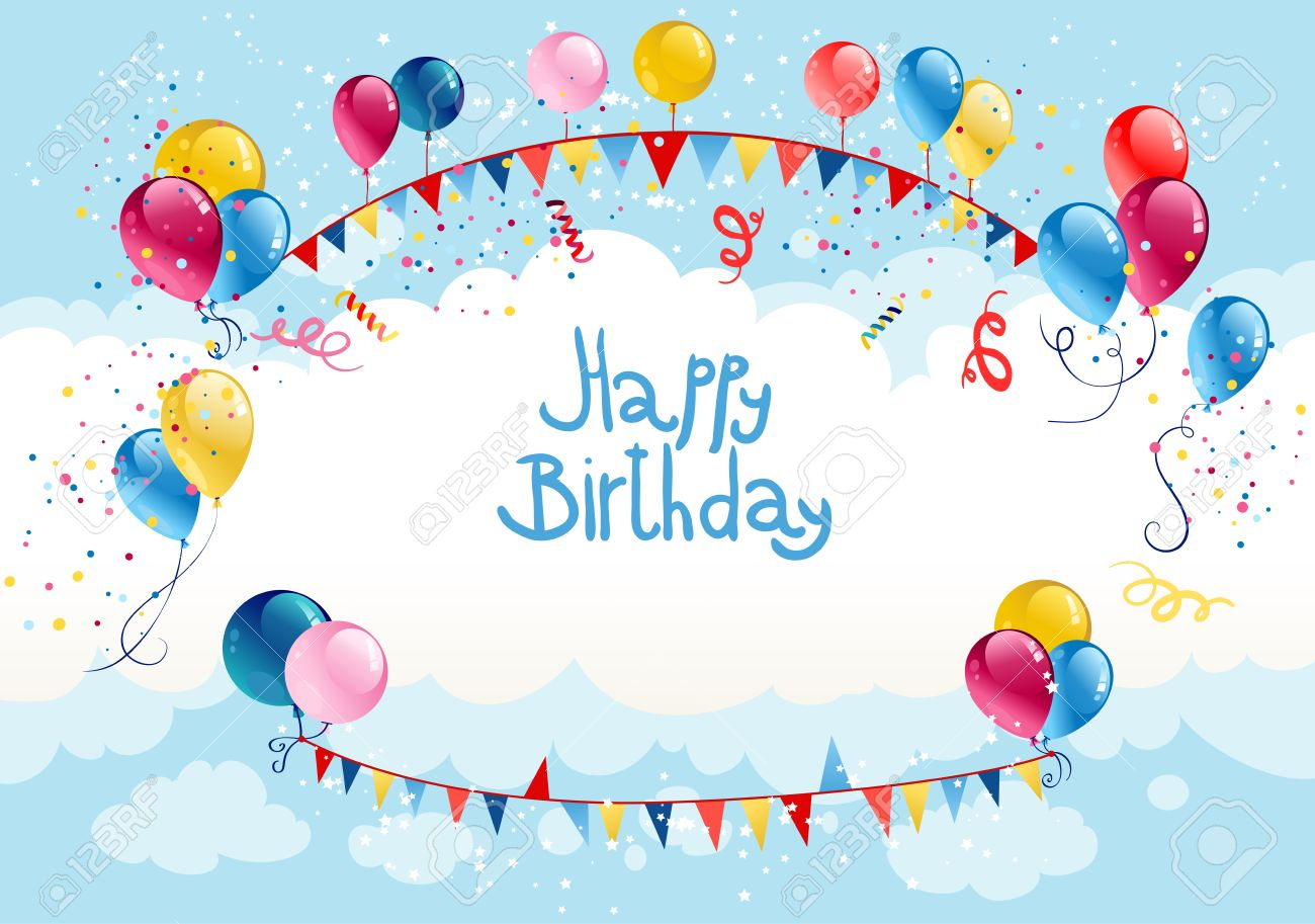 Happy birthday background in blue sky with place for text - 32373293