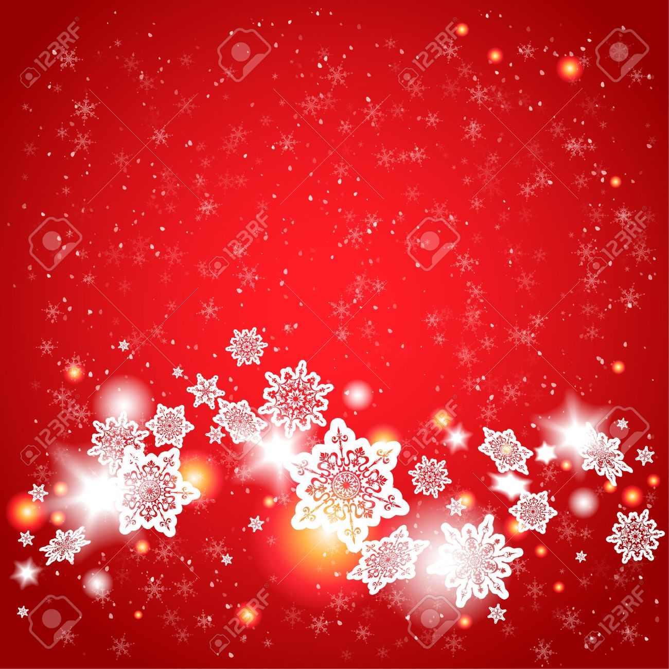Red background and snowflakes with place for text - 32373060