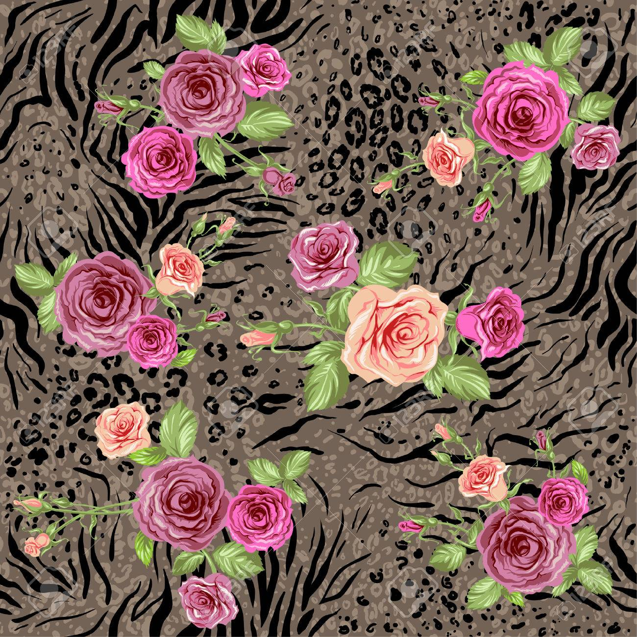 Mixed floral seamless pattern on animal backdrop - 32373061