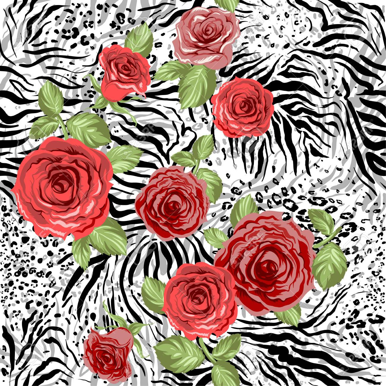 Repeating animal pattern and flowers. Seamless background - 32439844