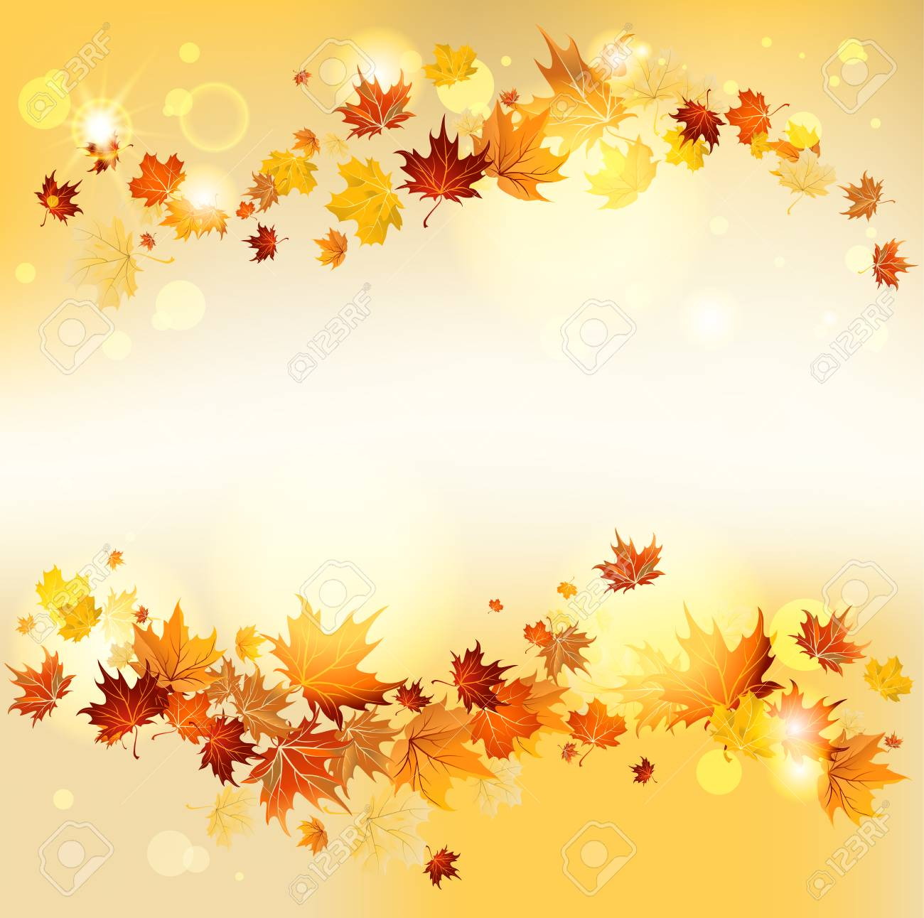 Swirl of maple flying leaves with copy space. Raster version - 32439852