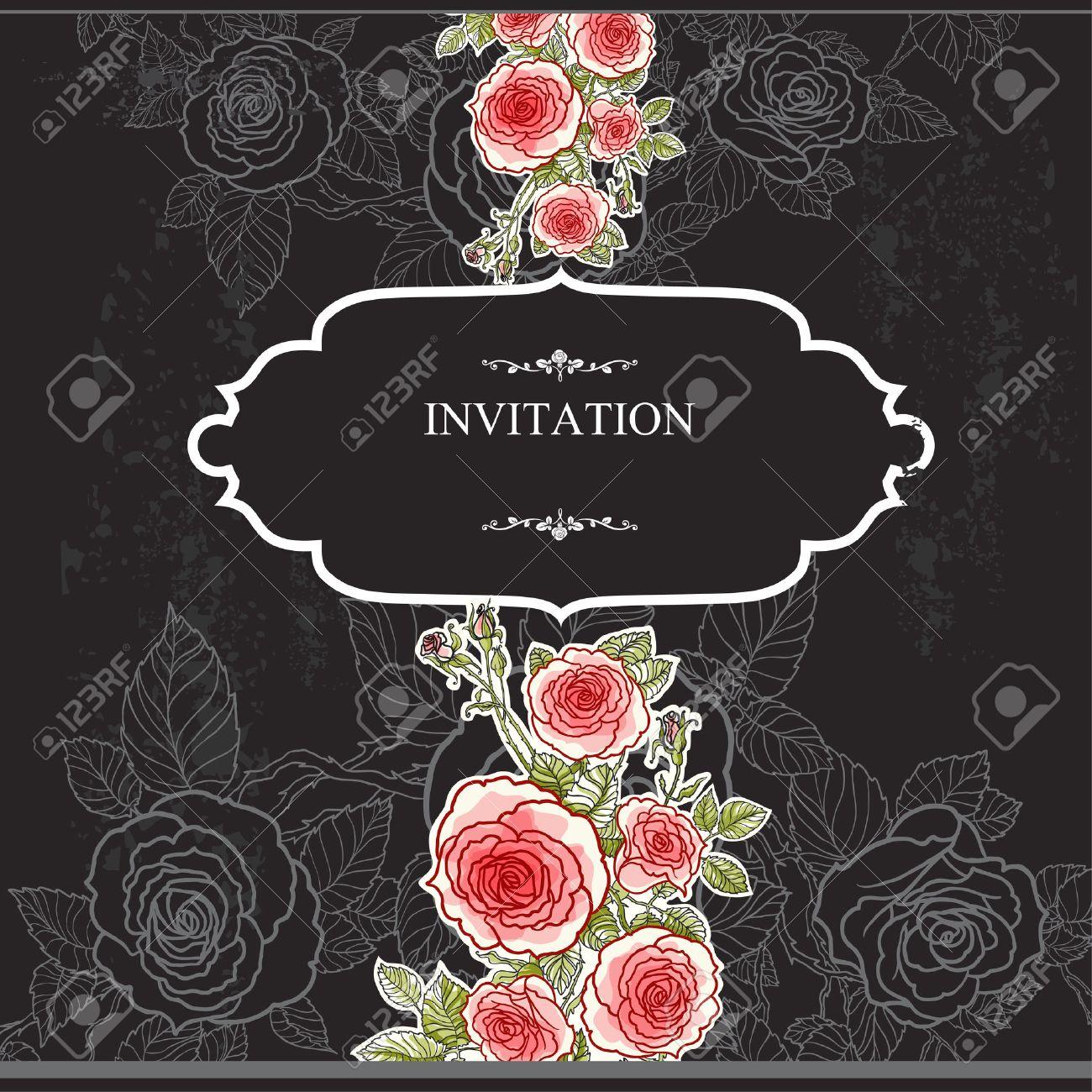 Vintage invitation with roses on black background. - 32770285