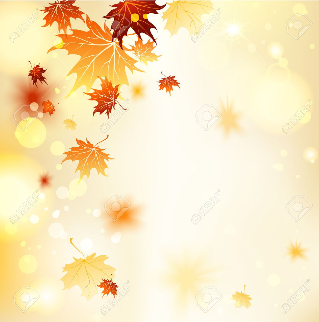 Fall background with maple leaves. Copy space - 32770358