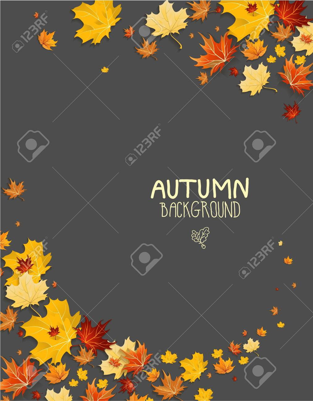 Abstract maple leaves on dark background with copy space. - 32770379