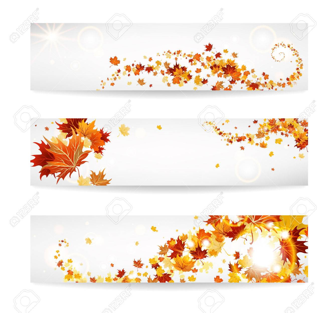 Set of banners with maple leaves. Copy space. - 32770400
