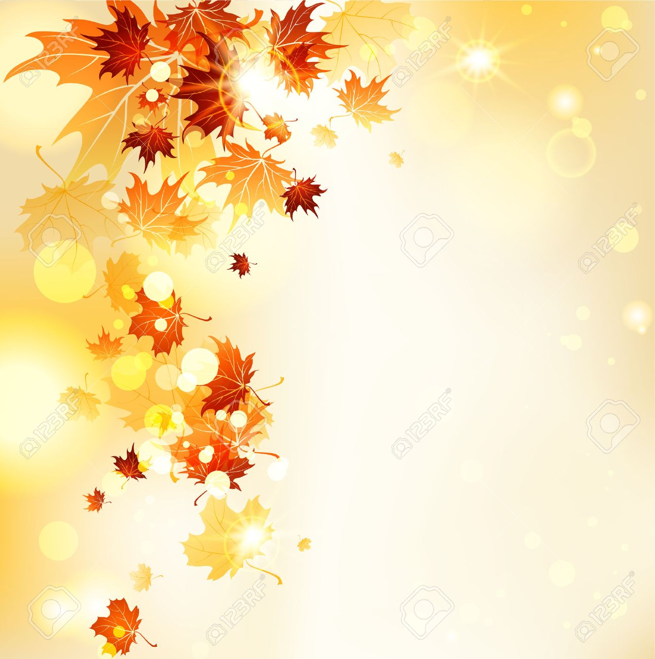 Flying leaves with copy space. Vector autumn background. - 32770410