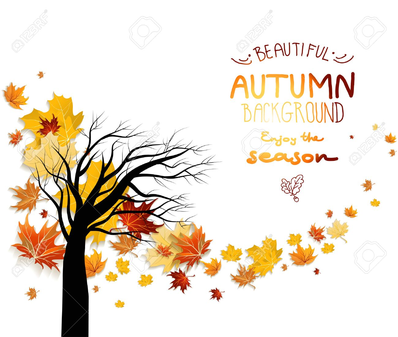 Abstract autumn background with autumn leaves and silhouette of tree. Copy space. - 32770425