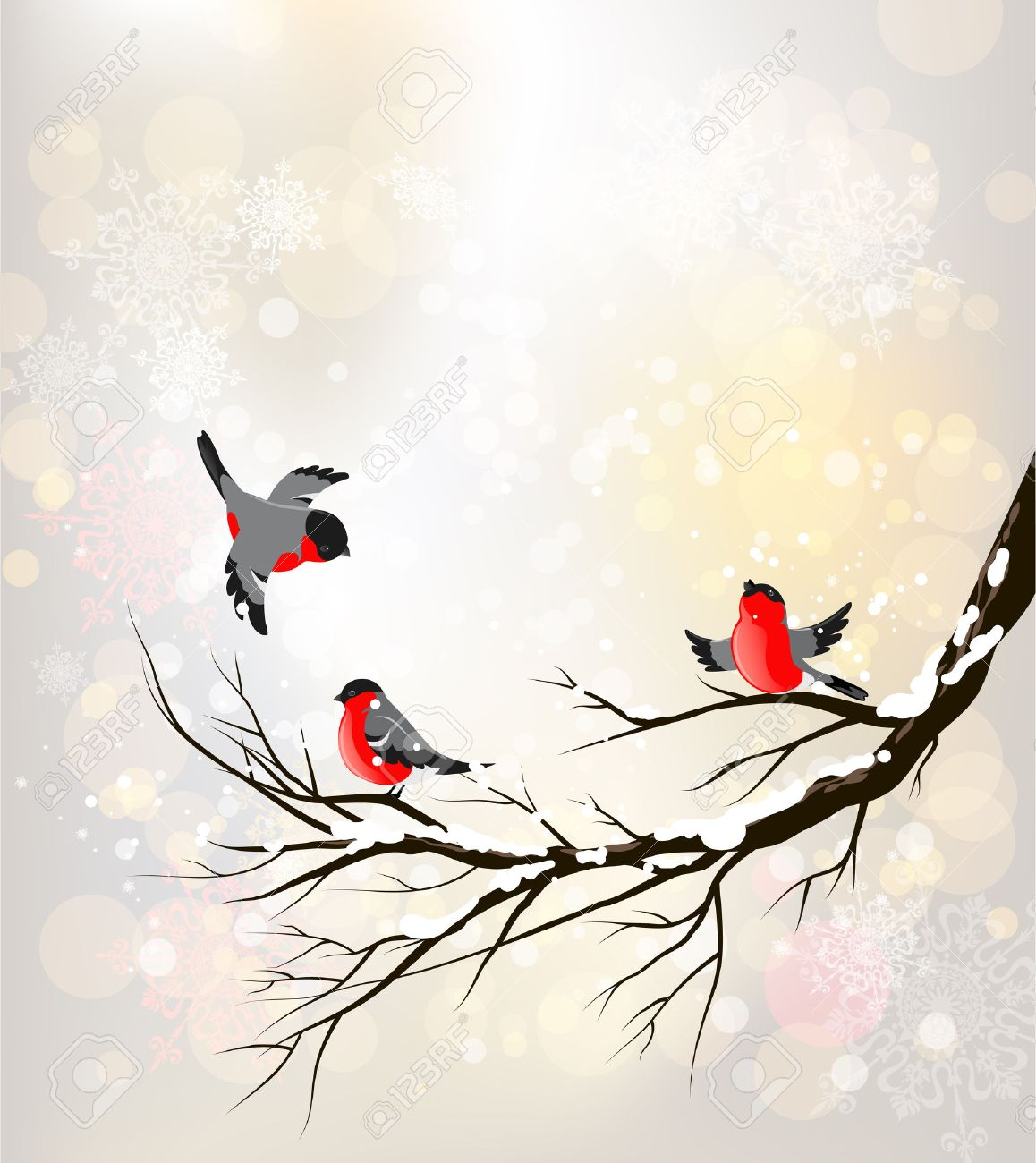 Winter background with birds. Place for text. - 32786085