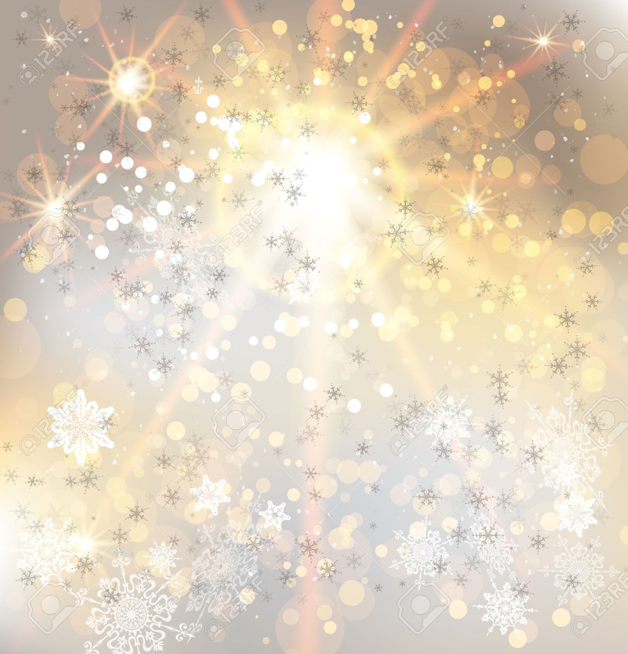 Golden light and snowflakes. Festive vector background. - 32786089