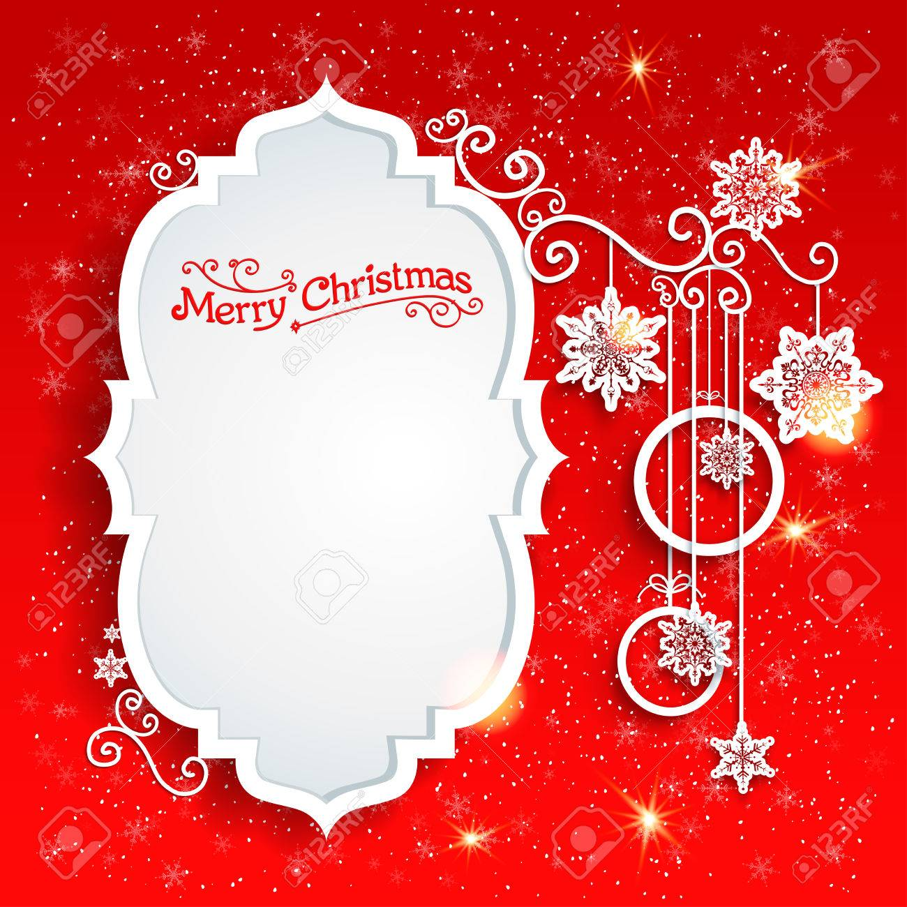 Christmas design on redbackground with place for text - 33459891