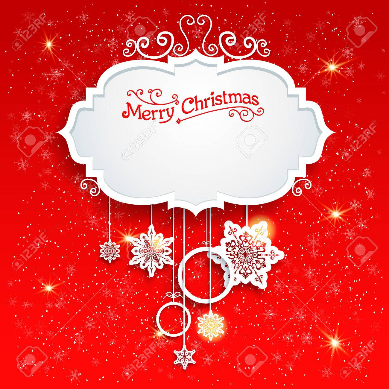 Red festive card with christmas decoration. Copy space. - 33459893