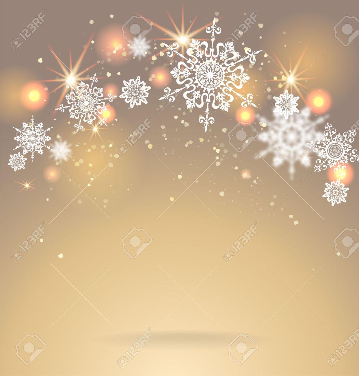 Shining snoweflakes on golden background. Holiday seasonal card. - 33460371