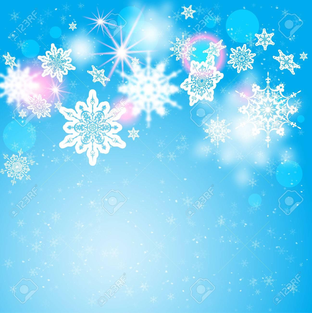 Snowflakes on blue backdrop. Holiday seasonal card - 33460846