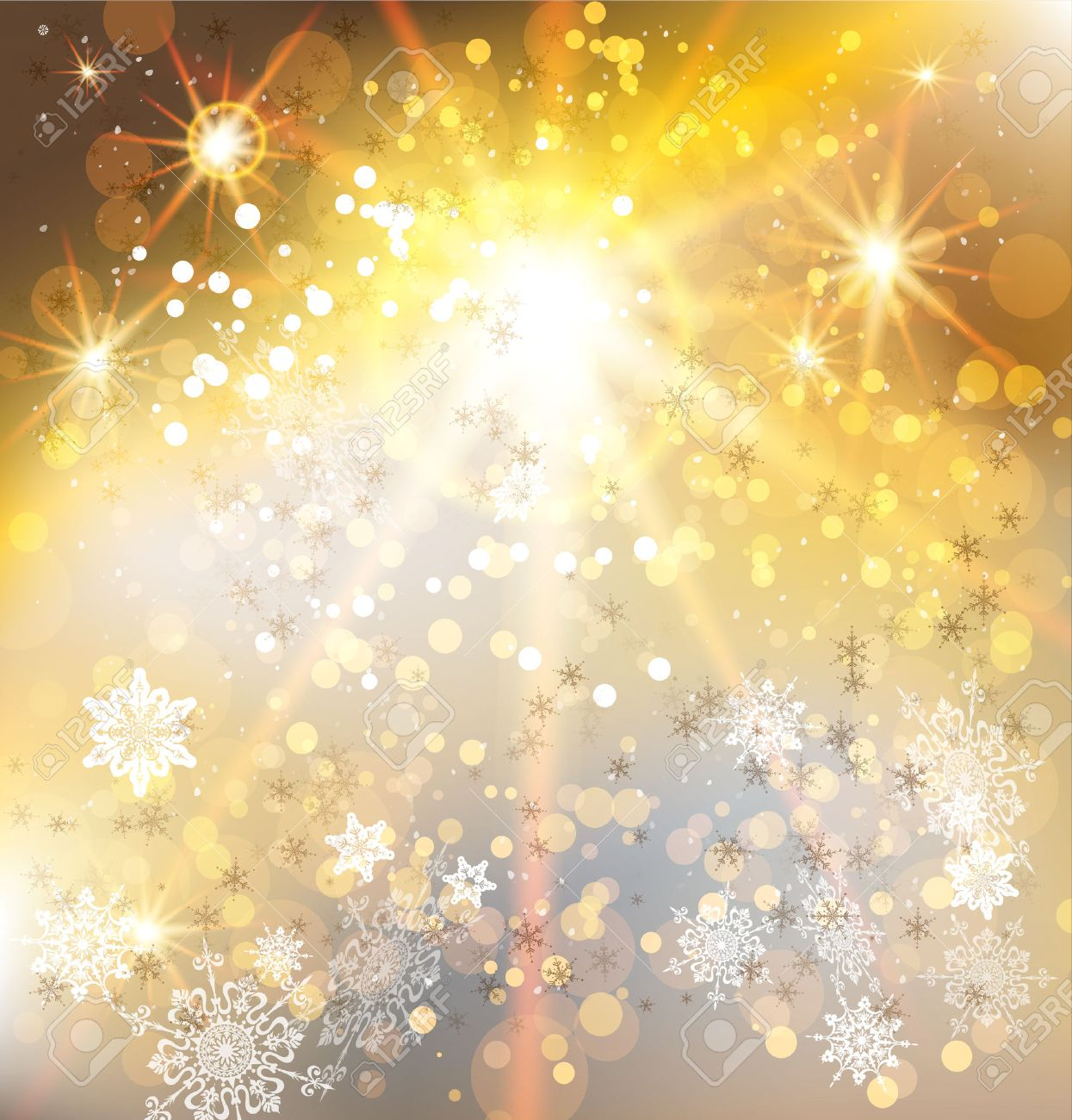 Winter holiday background with gold light. Christmas vector design. - 33460444