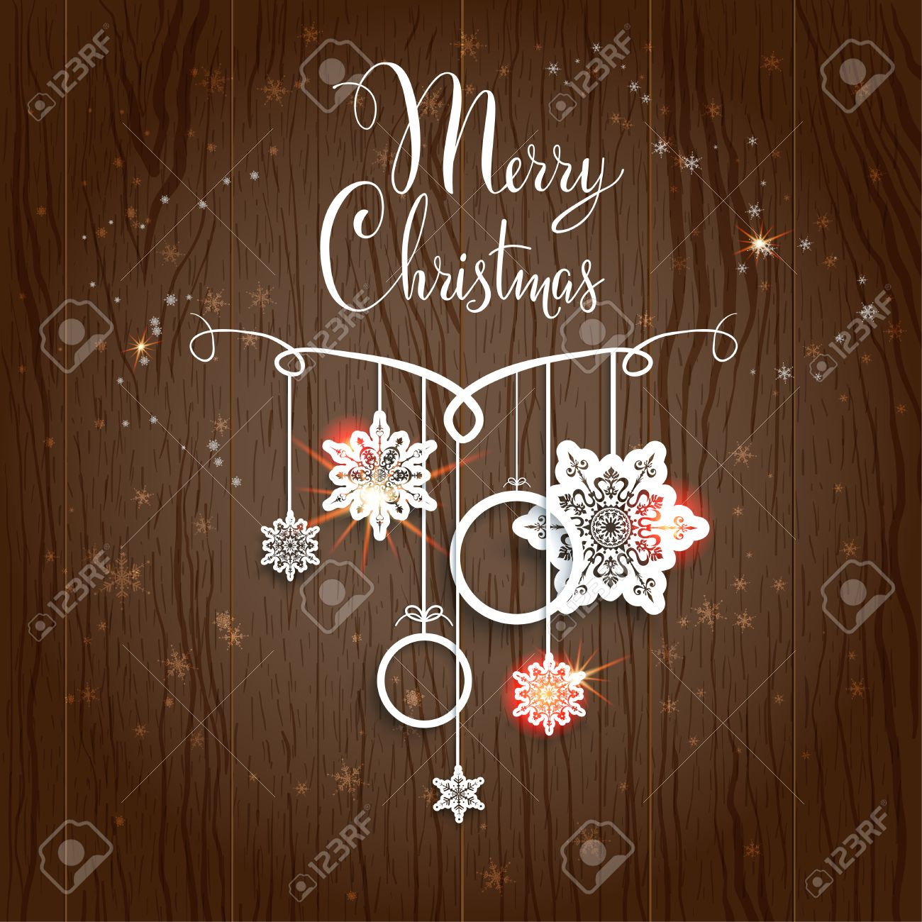 Merry Christmas design on wood background - 33461019