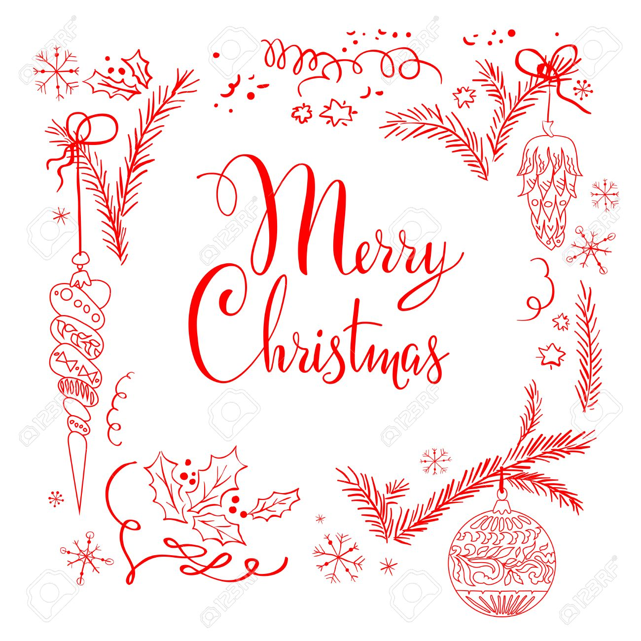 Merry Christmas lettering isolated on white background - 33461022