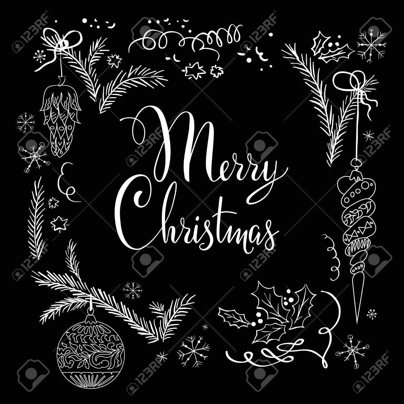 Christmas Board Design.Merry Christmas On Black Board Holiday Sketch