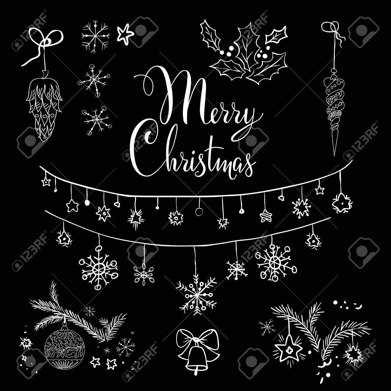 Christmas Board Design.Christmas Design Set On Black Board