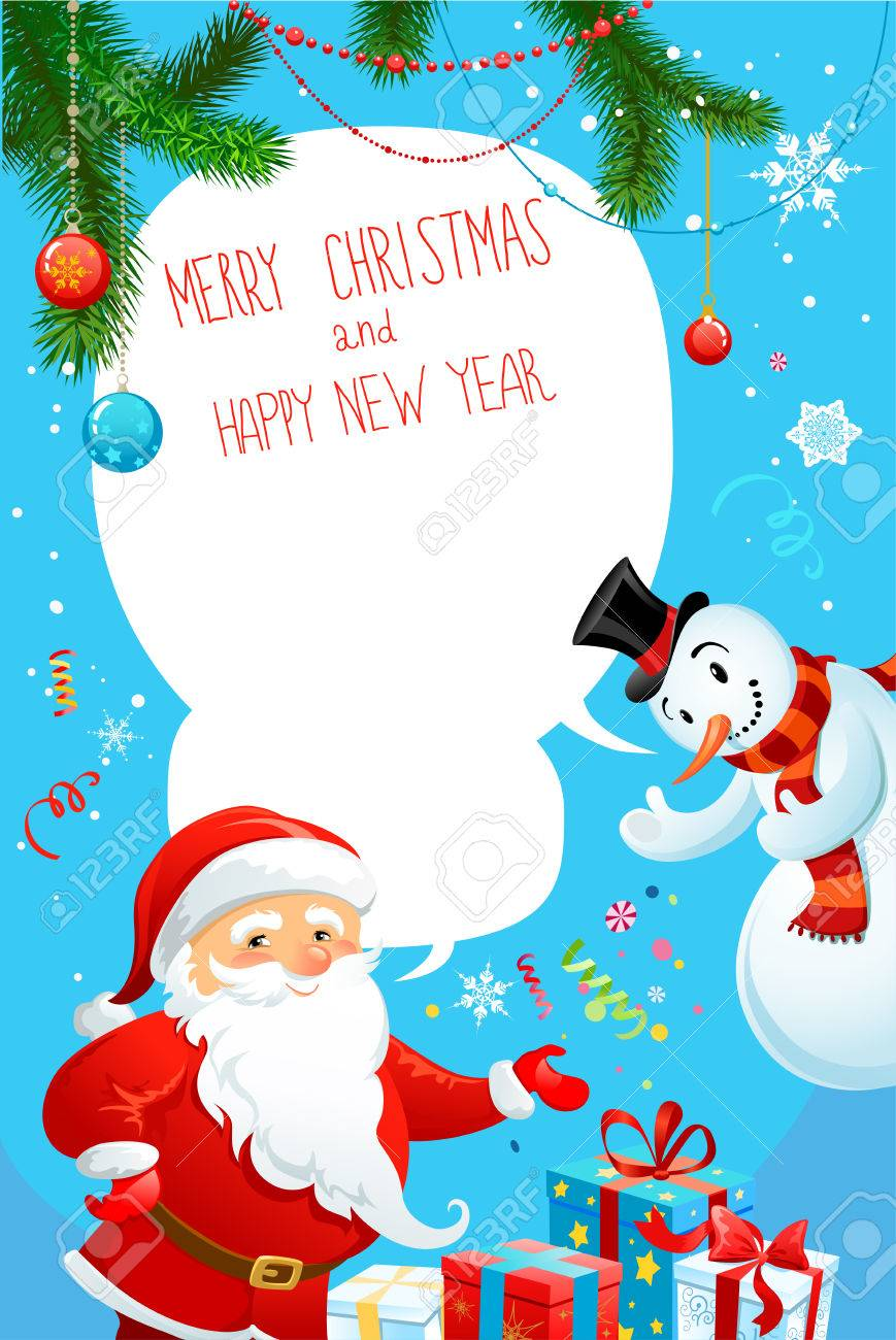 Merry Christmas Poster With Santa Claus And Snowman Copy Space