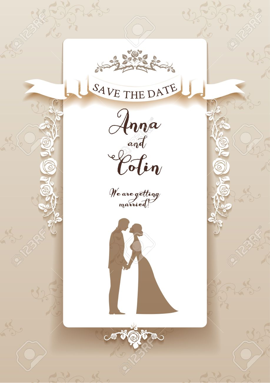 Elegant wedding invitation with bride and groom. Holiday design for leaflet, cards, invitation and so on. Place for text. - 40364787