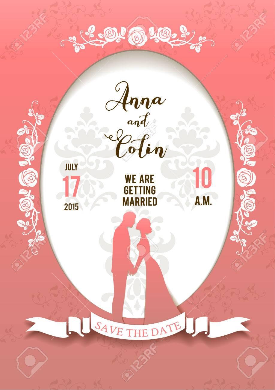 Hochzeit Schöne Karte Mit Braut Und Bräutigam. Eleganter Hochzeitsentwurf  Für Flugblatt, Karten, Einladung